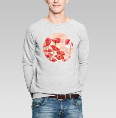 Маки - Купить мужские свитшоты с акварелью в Москве, цена мужских свитшотов с акварелью  с прикольными принтами - магазин дизайнерской одежды MaryJane