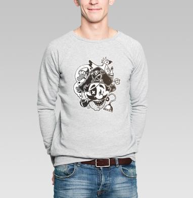 """ВесЁлый Пират - Свитшот мужской без капюшона серый меланж, """"мужские"""", Популярные"""