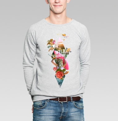 Wild surfer2 - Купить мужские свитшоты с тигром в Москве, цена мужских свитшотов с тиграми  с прикольными принтами - магазин дизайнерской одежды MaryJane