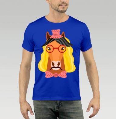 Футболка мужская синяя - Веселый конь
