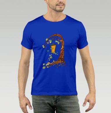 Футболка мужская синяя - Волшебное дерево