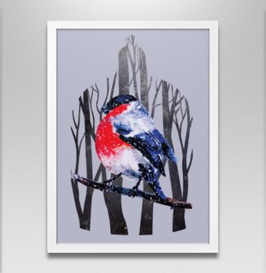 Снегирь на ветке - Постер в белой раме, деревья