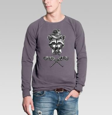 Свитшот мужской без капюшона тёмно-серый - Гангста енот
