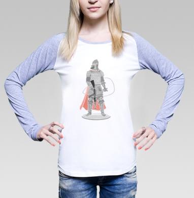 Футболка женская с длинным рукавом бело-серая - Богатырь