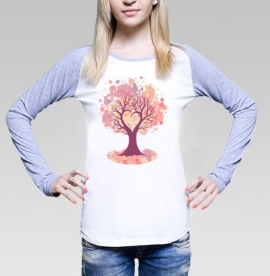 Дерево-сердце, Футболка лонгслив женская бело-серая