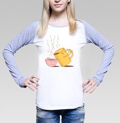 Футболка женская с длинным рукавом бело-серая - ЖИЗНЬ НА ДВОИХ