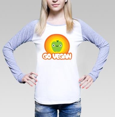 Футболка женская с длинным рукавом бело-серая - GO VEGAN!