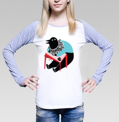 Coco tshirt, Футболка лонгслив женская бело-серая