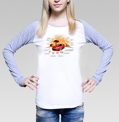 MX-5, Футболка лонгслив женская бело-серая