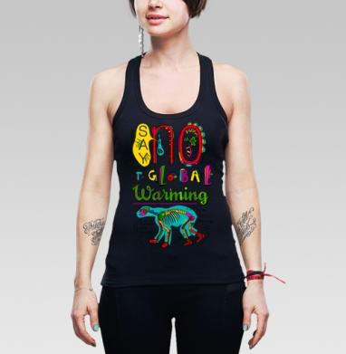 Say no to Global Warming - Купить мужские Майки-борцовки с пандой в Москве, цена мужских маек борцовок с пандами  с прикольными принтами - магазин дизайнерской одежды MaryJane