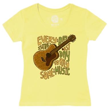 Футболка женская желтая - Каждый день - музыке