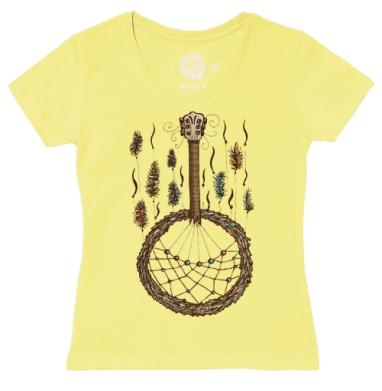 Футболка женская желтая - Ловец музыки