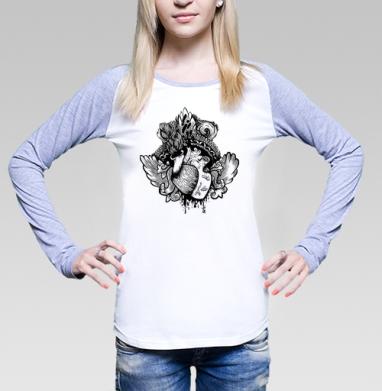 Крылатое Сердце, Футболка лонгслив женская бело-серая