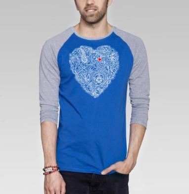 Два сердца вместе - Футболка мужская с длинным рукавом синий / серый меланж, Графика