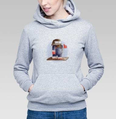Толстовка Женская серый меланж 340гр, теплая - Сноубордист