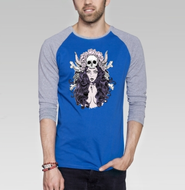 Готическая женщина - Футболка мужская с длинным рукавом синий / серый меланж, череп, Популярные