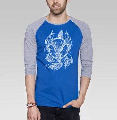 Лесной олень в ловце снов  - Футболка мужская с длинным рукавом синий / серый меланж, природа, Популярные