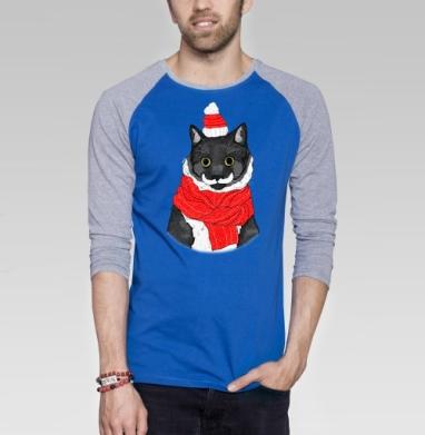 Рождественский Кот - Футболка мужская с длинным рукавом синий / серый меланж