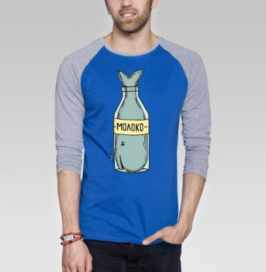 Кит в бутылке - Футболка мужская с длинным рукавом синий / серый меланж, киты, Популярные