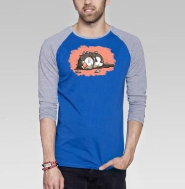Кот-обормот - Футболка мужская с длинным рукавом синий / серый меланж, нежность, Популярные