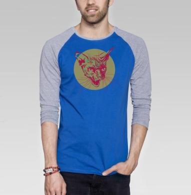 Кот сфинкс - Футболка мужская с длинным рукавом синий / серый меланж, хипстер, Популярные