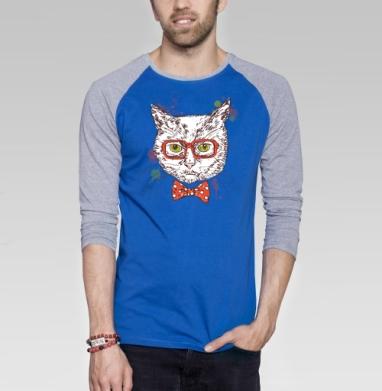 Котя-хипстер - Футболка мужская с длинным рукавом синий / серый меланж, хипстер, Популярные