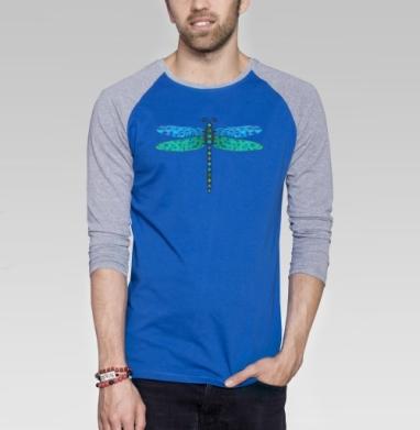 Мозаичная стрекоза - Футболка мужская с длинным рукавом синий / серый меланж, насекомые, Популярные