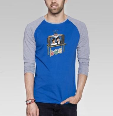 Мыльная опера - Футболка мужская с длинным рукавом синий / серый меланж, иллюстация, Популярные