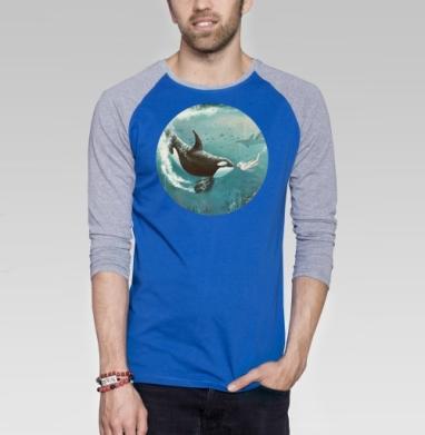 Орка - Футболка мужская с длинным рукавом синий / серый меланж, киты, Популярные