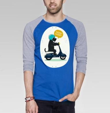 Скотч терьер на мопеде - Футболка мужская с длинным рукавом синий / серый меланж, Мило