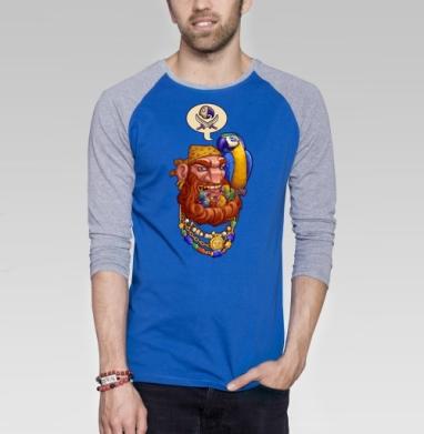 Йо-хо-хо и борода птенцов - Футболка мужская с длинным рукавом синий / серый меланж, голова, Популярные