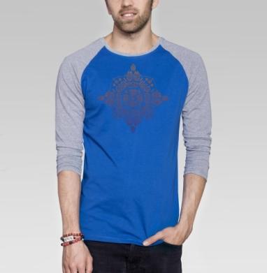 Инопланетные цветы - Футболка мужская с длинным рукавом синий / серый меланж, этно, Популярные