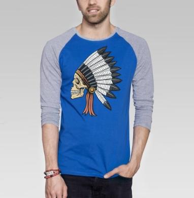 Мертвец - Футболка мужская с длинным рукавом синий / серый меланж, индеец, Популярные