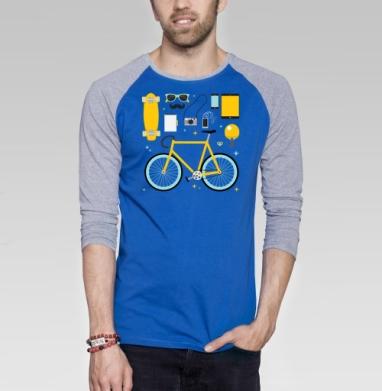 НАБОР ХИПСТЕРА - Футболка мужская с длинным рукавом синий / серый меланж, велосипед, Популярные