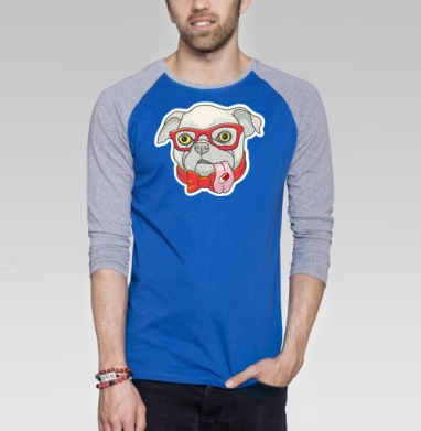 Пилюляпёс - Футболка мужская с длинным рукавом синий / серый меланж, бабочки, Популярные