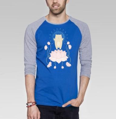 Просветление котика - Футболка мужская с длинным рукавом синий / серый меланж, йога, Популярные