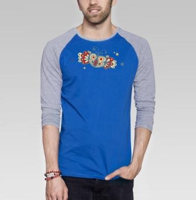 Тепло винтажных кружев - Футболка мужская с длинным рукавом синий / серый меланж, Бабочки