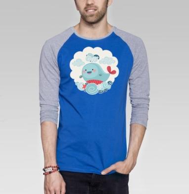 Веселый кит - Футболка мужская с длинным рукавом синий / серый меланж, киты, Популярные