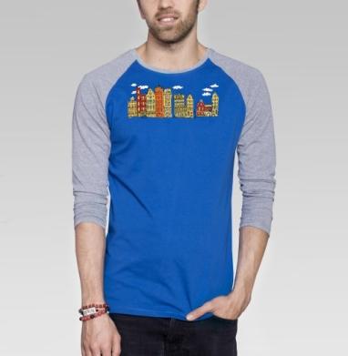 Цветной Амстердам - Футболка мужская с длинным рукавом синий / серый меланж, город, Популярные