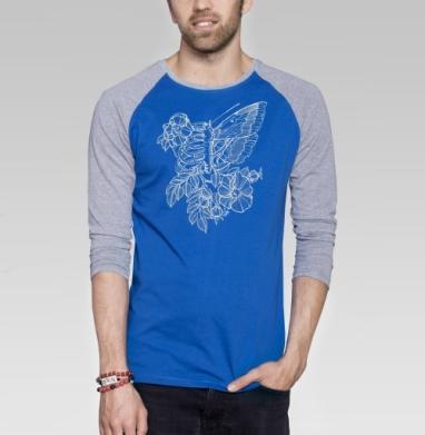 Flowers of my body - Футболка мужская с длинным рукавом синий / серый меланж, Бабочки