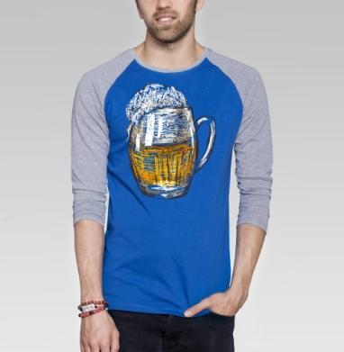 Кружка пива - Футболка мужская с длинным рукавом синий / серый меланж, графика, Популярные