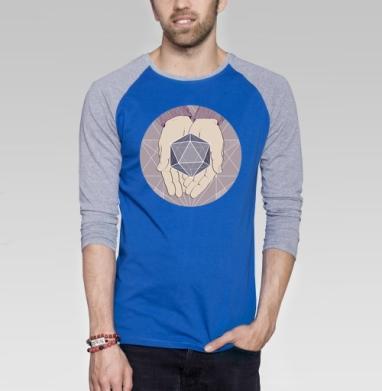 Нежная геометрия - Футболка мужская с длинным рукавом синий / серый меланж, нежность, Популярные