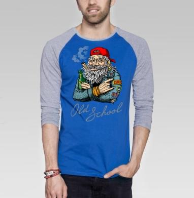 Old School - Футболка мужская с длинным рукавом синий / серый меланж, психоделика, Популярные