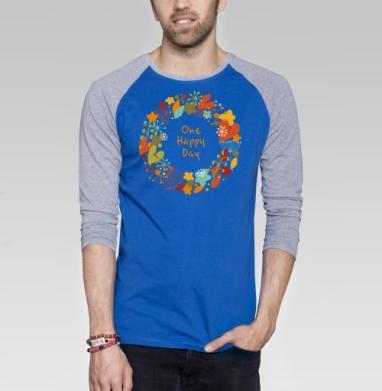 One happy day - Футболка мужская с длинным рукавом синий / серый меланж, графика, Популярные