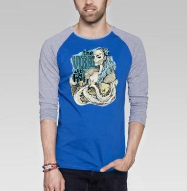 Virgin with a fish - Футболка мужская с длинным рукавом синий / серый меланж, киты, Популярные