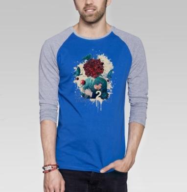 Fructum caput - Футболка мужская с длинным рукавом синий / серый меланж, голова, Популярные