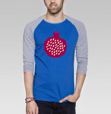 Гранатовый всплеск - Футболка мужская с длинным рукавом синий / серый меланж, фрукты, Популярные