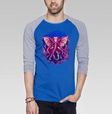 Кракен - Футболка мужская с длинным рукавом синий / серый меланж, киты, Популярные