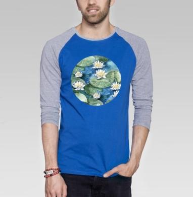 Лилия - Футболка мужская с длинным рукавом синий / серый меланж, акварель, Популярные