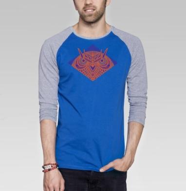 Сова - Футболка мужская с длинным рукавом синий / серый меланж, геометрия, Популярные